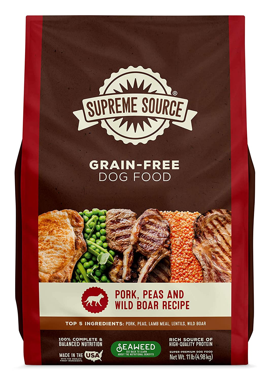 Supreme Source Premium Dry Dog Food, Grain Free, USDA Organic Seaweed, Protein, Pork Peas & Wild Boar Recipe for All Life Stages. Made in The USA.