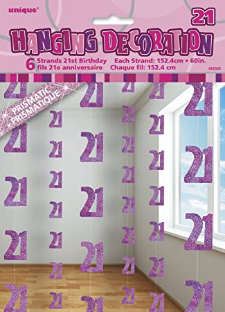 5ft Hanging Glitz Pink 21st Birthday Decorations Pack Of 6