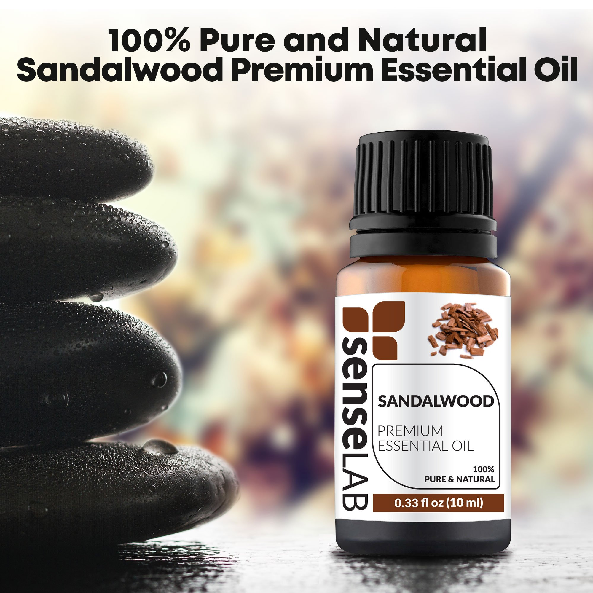 Sandalwood Essential Oil - India - by SenseLAB - 100% Pure, Natural and Highly Concentrated; Therapeutic Grade Oil 0.33 fl oz (10ml) by SENSELAB