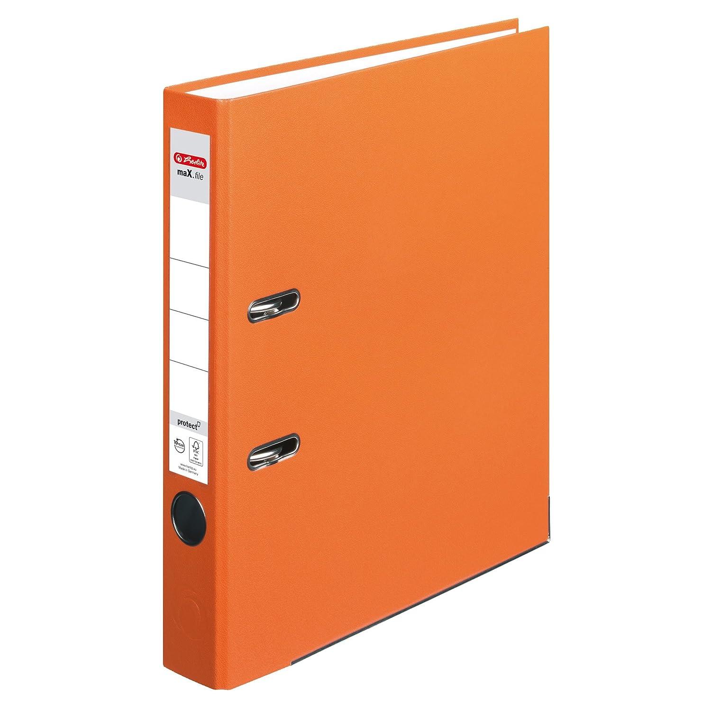 Archivador Herlitz 5450309, protección maX.file. A4 (5 cm), con etiqueta en el lomo, color naranja: Amazon.es: Oficina y papelería