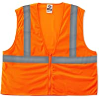 Ergodyne GloWear 8205Z ANSI Economy High Visibility Orange Reflective Safety Vest, Zipper Closure, Large/X-Large