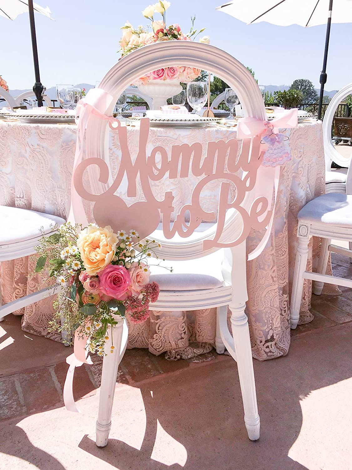 Amazoncom Baby Shower Chair Sign Mommy To Be Wooden Cutout In