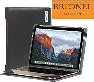 Broonel London - Profile Series - Black Vegan Leather Luxury Laptop Case Compatible with The Acer Chromebook CB5-571 15.6""