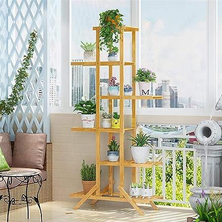 hj Planta de bambú Soporte Vertical Exterior Multi-Pot Bastidor Bastidor Soporte Escalera Balcón Interior Patio Esquina Pot Soporte de exhibición (Size : 6 Floors): Amazon.es: Hogar