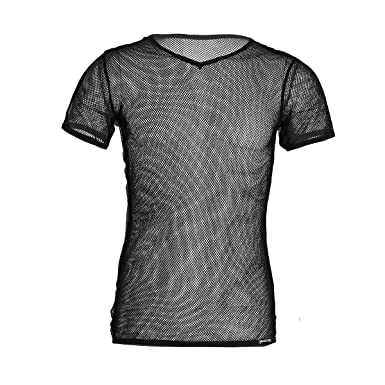 de4447fc8f25a YiZYiF Men s See Through Fishnet Clubwear Short Sleeve T-Shirt Undershirt  Black Medium