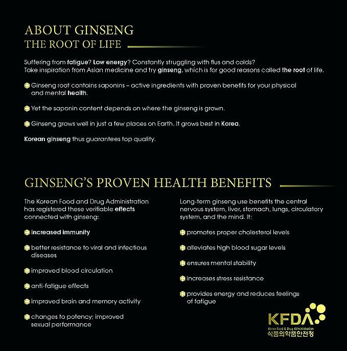 Cápsulas de Ginseng Rojo Coreano Fermentado, 130 mg/g, 30 cápsulas, 30 días