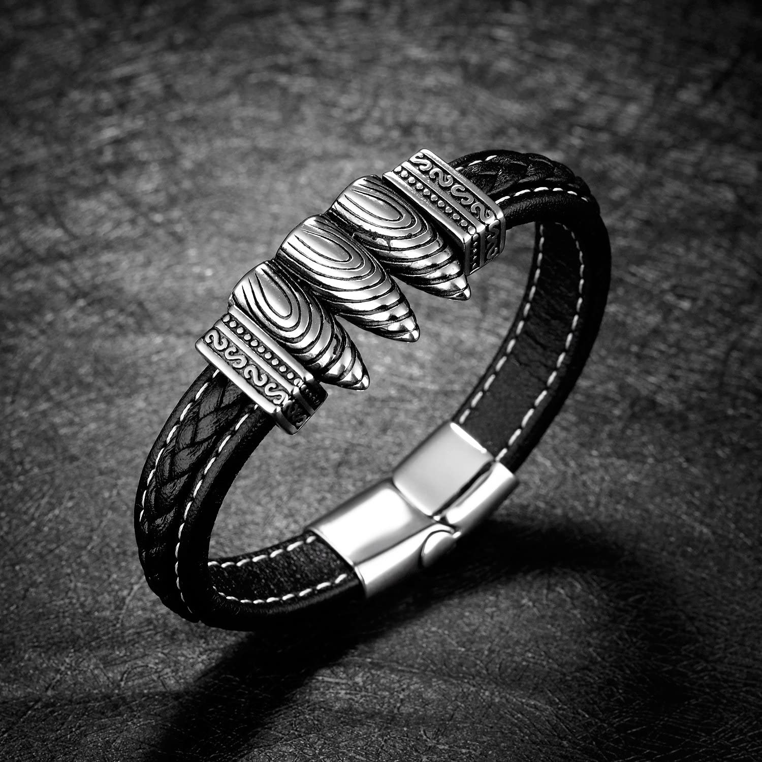 LOHOME Fashion Bracelets Genuine Leather Chain Titanium Bullet Charm With Magnetic Buckle Cuff Bangle for Mens