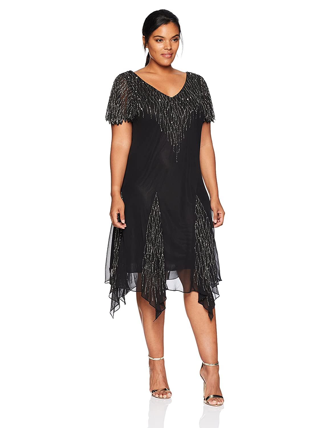 Black Mercury J Kara Womens Plus Size Short Beaded Dress Special Occasion Dress