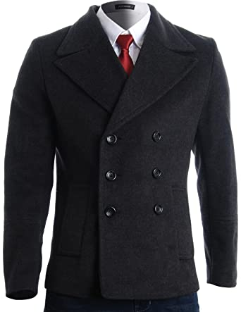 ddfc5be72a8 FLATSEVEN Mens Winter Double Breasted Pea Coat Short Jacket (CT121) Charcoal