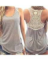 72f23cf71f Welcomeuni Women Lace Vest Top Short Sleeve Blouse Casual Tank Tops T-Shirt