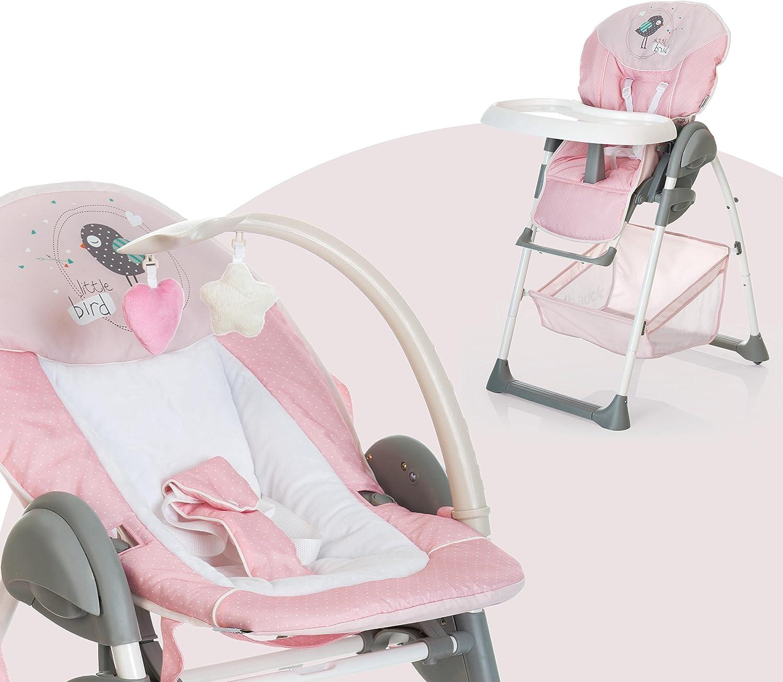 Hauck Sit N Relax - Hamaquita balancin y trona para recién nacidos, respaldo reclinable, chasis ligero, con arco móvile, mesa, ruedas, regulable en altura, plegable - rosa