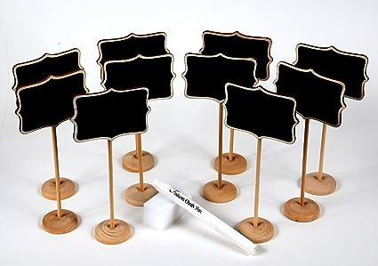 10 Piece Mini Rectangle Chalkboard Stands / Signs, White Liquid Chalk Pen U0026  Erasing Sponge