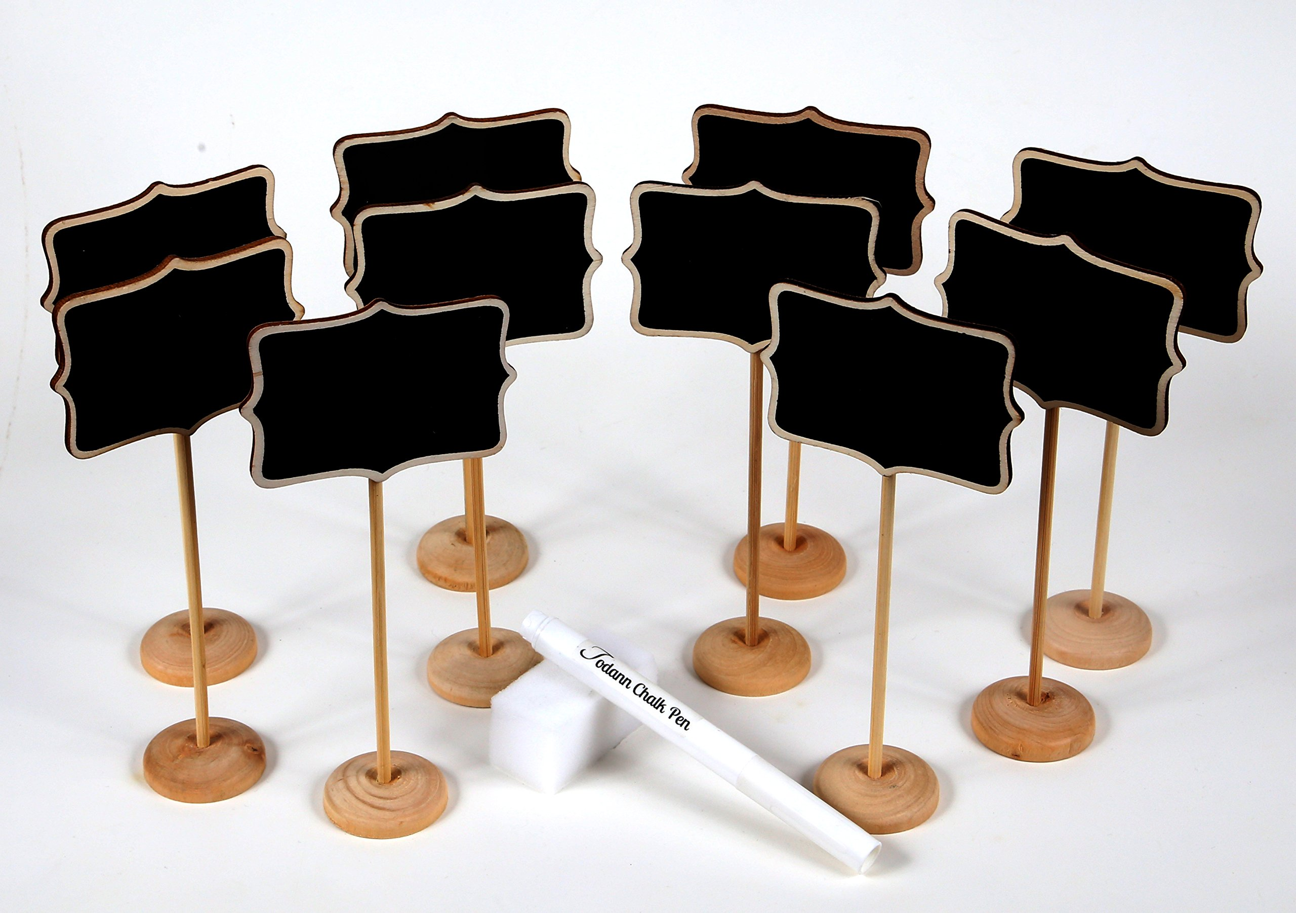 10 Piece Mini Rectangle Chalkboard Stands / Signs, White Liquid Chalk Pen & Erasing Sponge, use for Weddings, Parties, Table Numbers or Place Cards by Todann (Image #5)