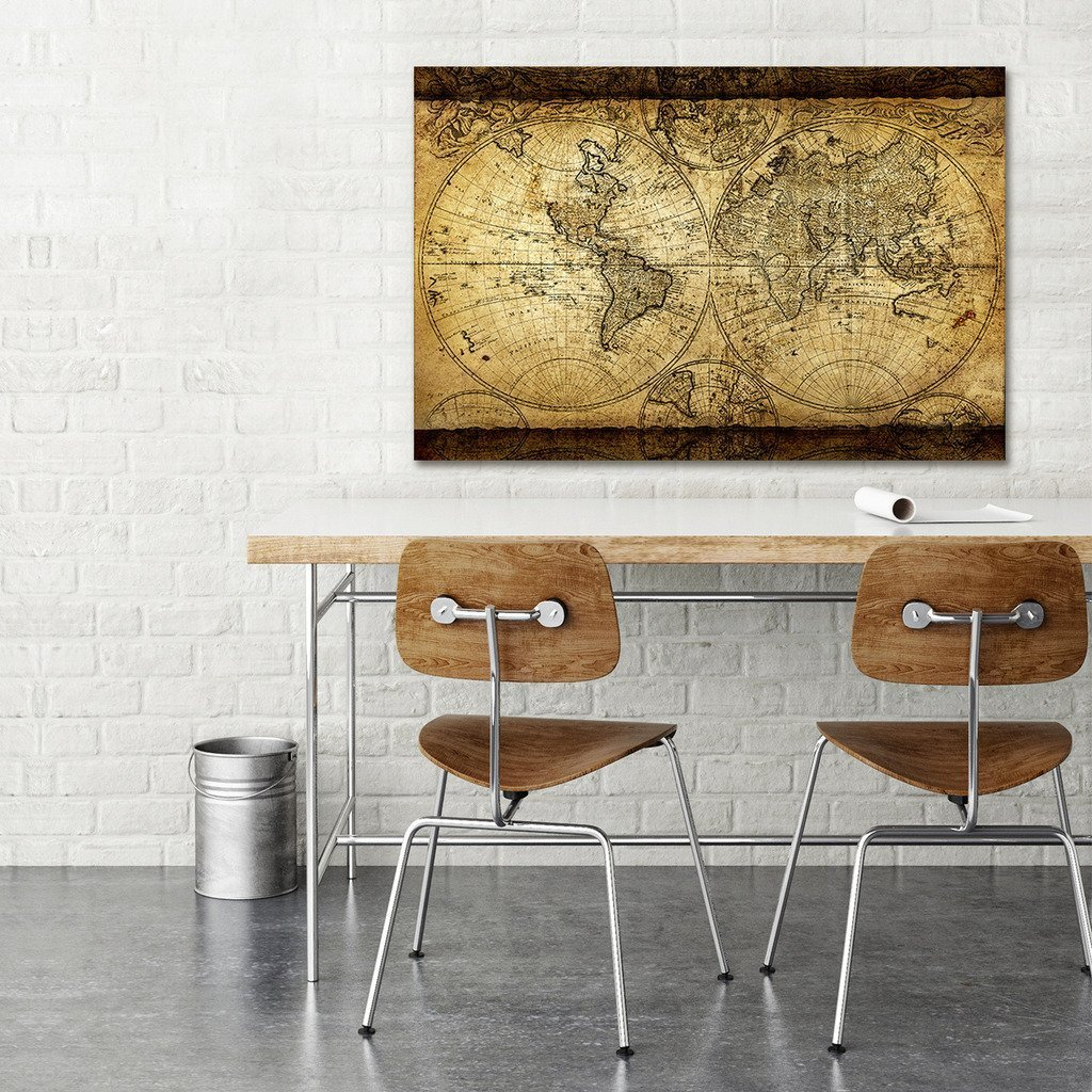 Decor mi vintage world map canvas wall art retro map of the world decor mi vintage world map canvas wall art retro map of the world canvas prints framed and stretched for living room ready to hang 24x35 gumiabroncs Images