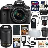 Nikon D3400 Digital SLR Camera & 18-55mm VR & 70-300mm DX AF-P Lenses with 64GB Card + Case + Flash + Video Light + Battery & Charger + Tripod + Kit