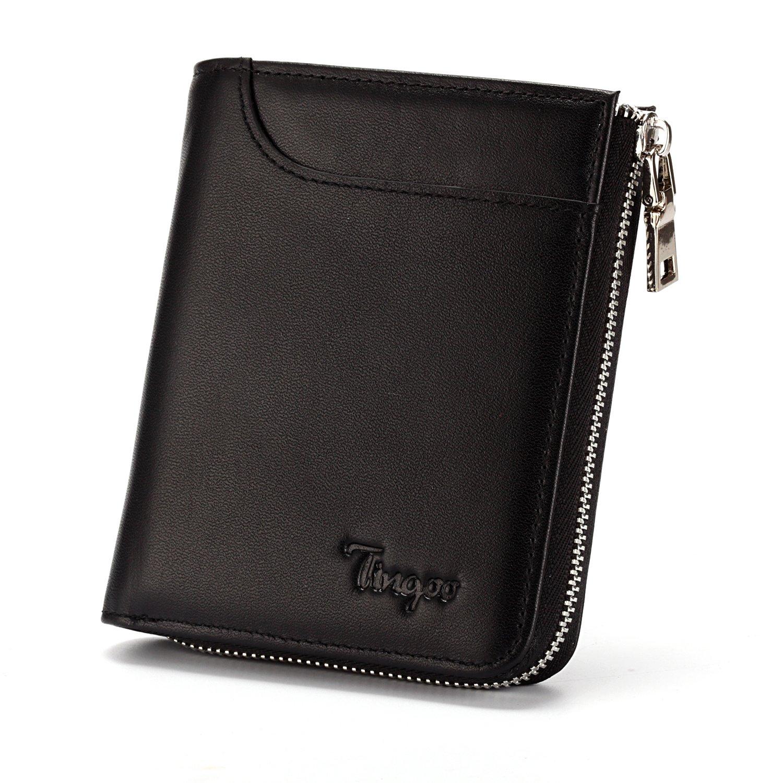 Tingoo RFID Blocking Zip Around Wallet Genuine Leather Bifold Wallet Card Holder Unisex