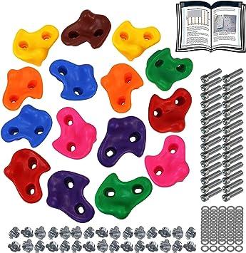 ALPIDEX Presas de Escalada para niños , Capacidad de Carga 200 kg , Material de fijación Incluido , Diferentes cantidades Multicolores - 15 Piezas