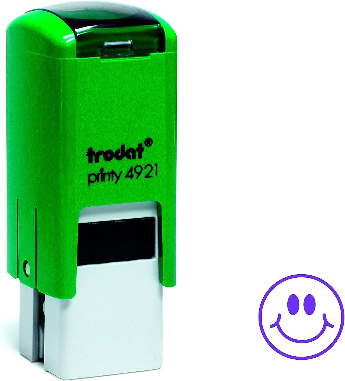 Trodat Printy 4921 - Sello autoentintable para profesor (diseño de caritas sonrientes), verde