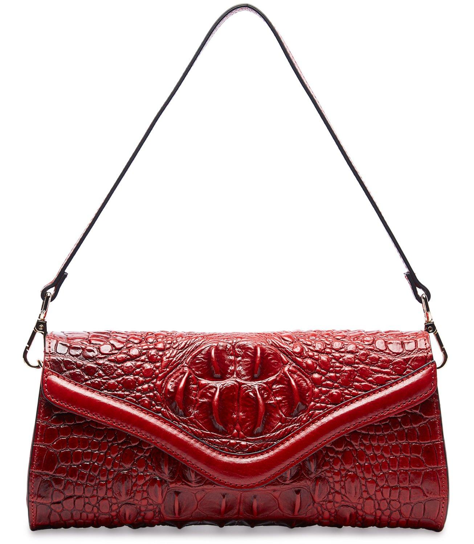 Pifuren Designer Crocodile Clutch Handbag Womens Evening Party Purse M1101(One Size, Red) …