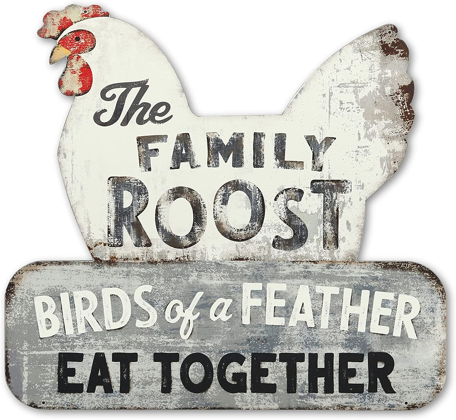 Open Road Brands The Family Roost Metal Sign - Large Chicken Farmhouse Décor for Kitchen or Dining Room