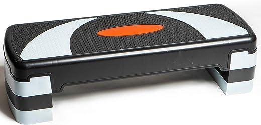Adjustable Aerobic Stepper 78cm, 3 Levels (10/15/20cm - 4''/6''/8'') Exercise Step Platform for Home Gym and Fitness Training, 78 x 28 cm - 31'' x 11''