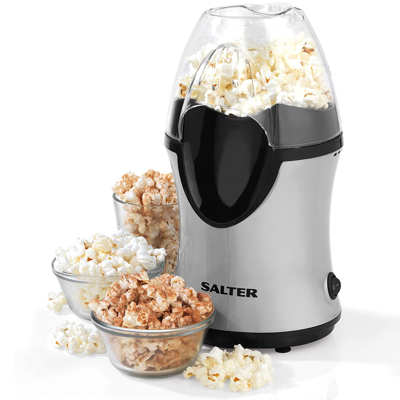 Salter EK2902 Healthy Fat-Free Electric Hot Air Popcorn Maker, 1200 W,  Black/Grey