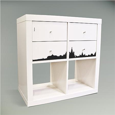 Adhesivos decorativos para muebles caja plegable para mueble IKEA EXPEDIT (Kallax) estantería 67,8 x 32,6 cm con diseño: diseño de Moscú: Amazon.es: Hogar
