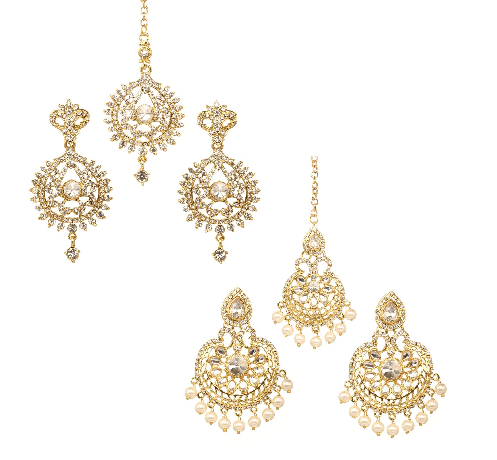 Bindhani Wedding Indian Head Maang Tika With Earring Bollywood Mang Tikka Jewelry For Women (Pack Of 2)