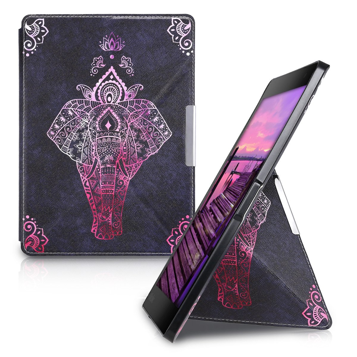 kwmobile Cover case for Kobo Aura ONE with stand - Ultra slim case made of synthetic leather Elephant Sketch in dark pink anthracite