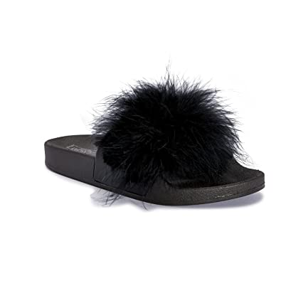c3c464dff09 Womens Ladies Faux Fur Feather Marabou Slip On Fluffy Mules Sliders Slippers  (UK 3