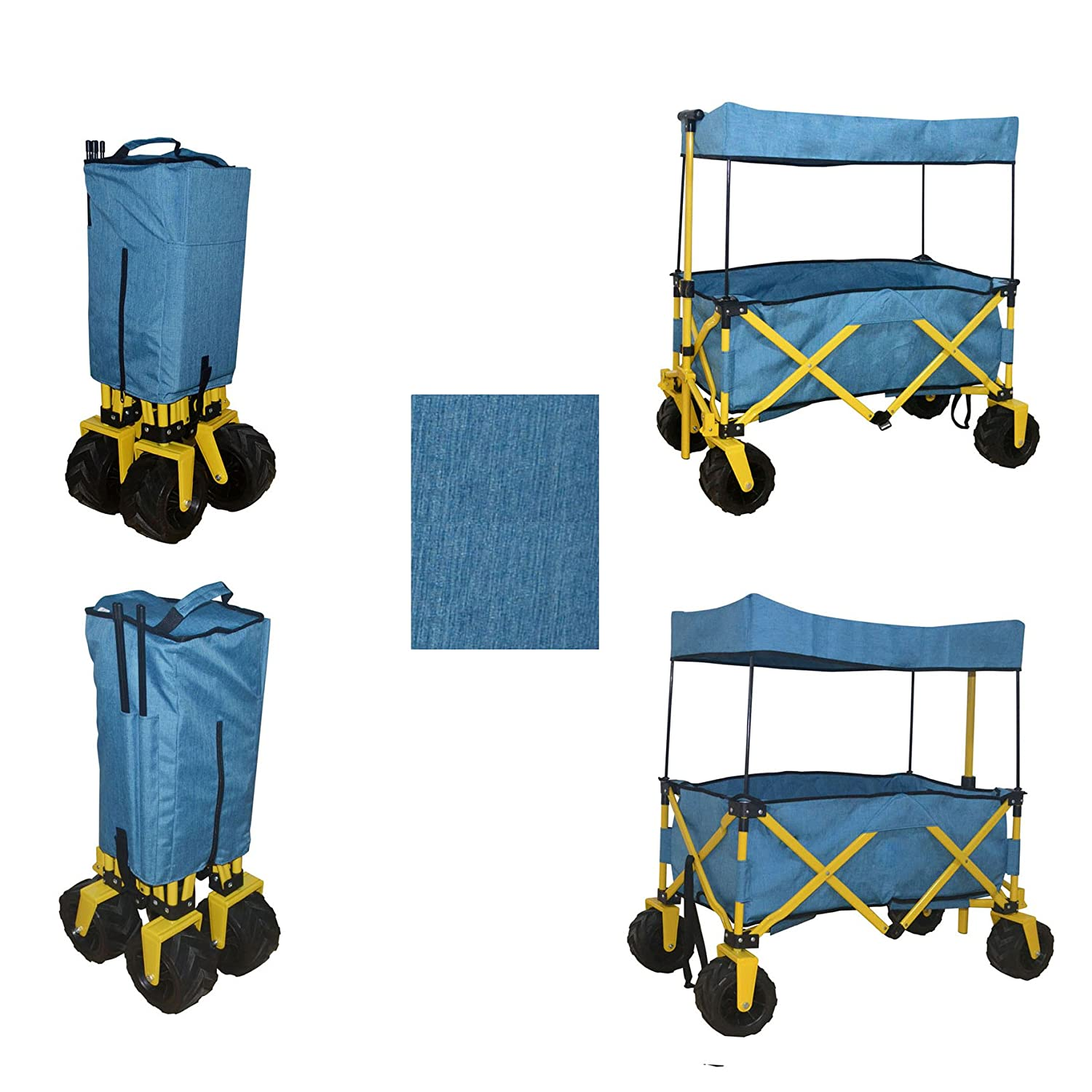 BLUE JUMBO WHEEL FOLDING WAGON ALL PURPOSE GARDEN UTILITY BEACH SHOPPING TRAVEL CART OUTDOOR SPORT COLLAPSIBLE WITH CANOPY COVER - EASY SETUP NO TOOL NECESSARY - COMPACT FOLDED SIZE SPACE SAVING WagonBuddy