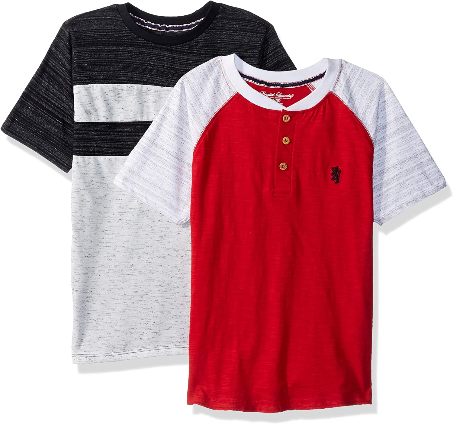 English Laundry Boys' Short Sleeve Henley and T-Shirt