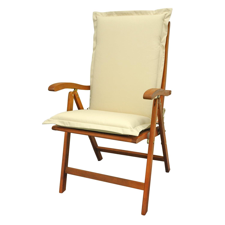 IND-70452-AUHL Sitzauflage Hochlehner Premium, extra dicke Polsterauflage mit Reißverschluss, 120 x 50 x 9 cm, Beige