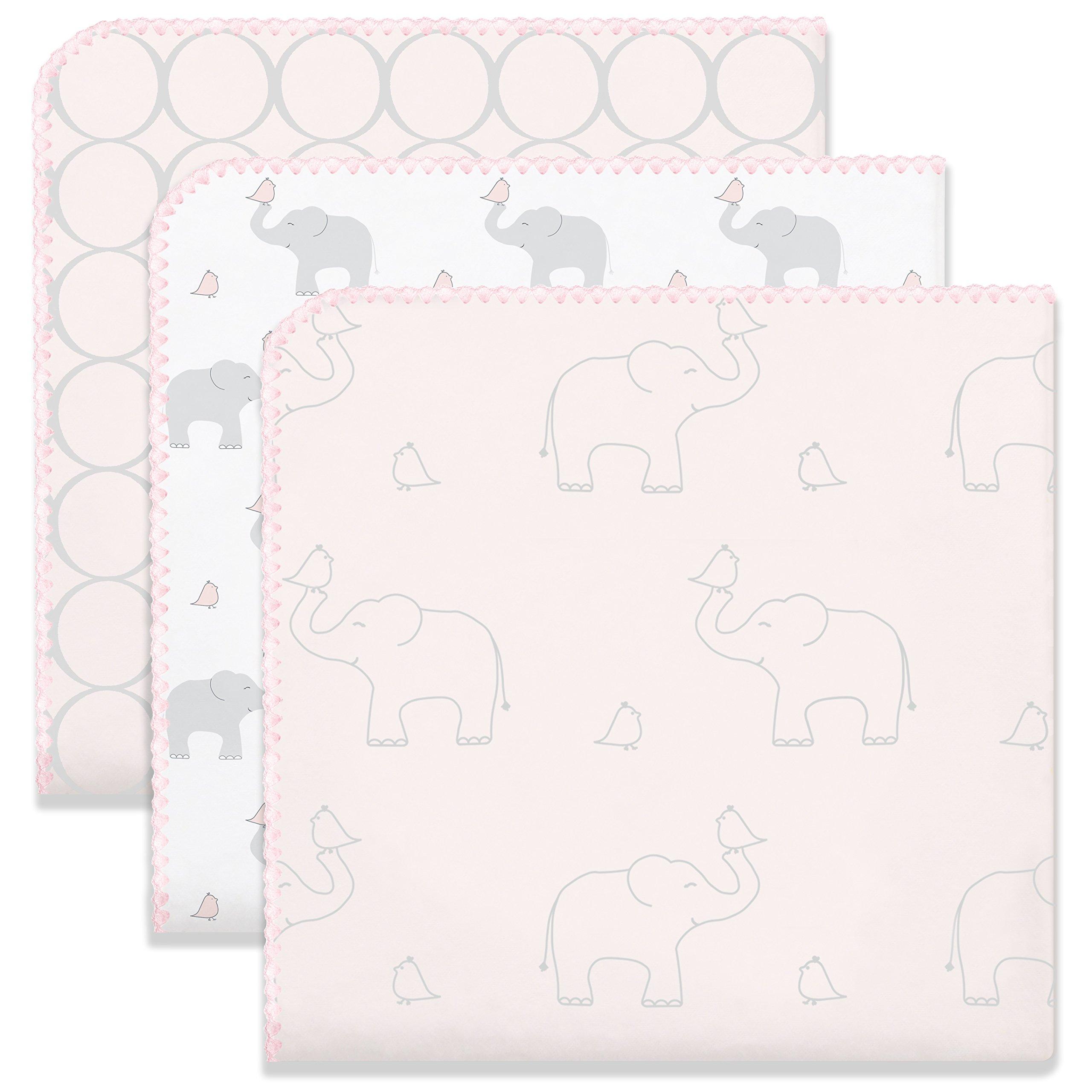 SwaddleDesigns Ultimate Swaddle Blankets, Set of 3, Mod Circles and Elephants, Sunwashed Pink