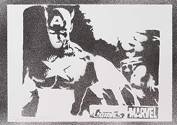 Póster Capitán América Los Vengadores Grafiti Hecho A Mano - Handmade Street Art - Artwork