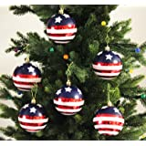 Festive Season Stars & Stripes Shatterproof Christmas Ball Ornaments, Tree Decorations (Set of 6, 80mm)