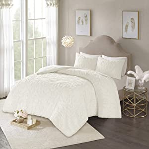 Madison Park Laetitia Comforter Reversible Solid Medallion Flower Floral Tufted 100% Cotton Shell Chenille Soft Down Alternative Hypoallergenic All Season Texture Bedding-Set, Queen, Ivory