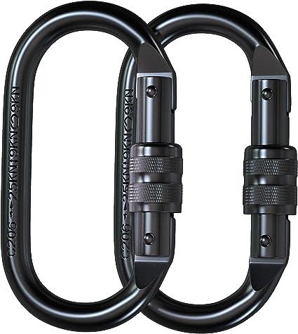 25KN D-ring Screw Locking Safety Climbing Carabiner Equipment Black