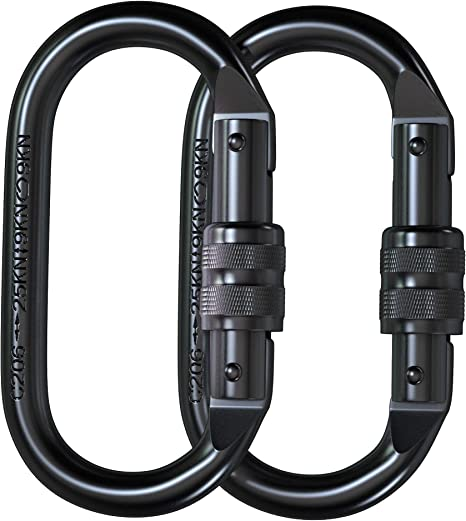 Ropes AHAVINTAGE.COM Locking Climbing Carabiners Clip Heavy Duty Hammocks Blue Camping CE Rated 25 kN 5600 LB Rugged Terrain Approved Industrial Strength Twist Lock Carabiners Clips for Rigging