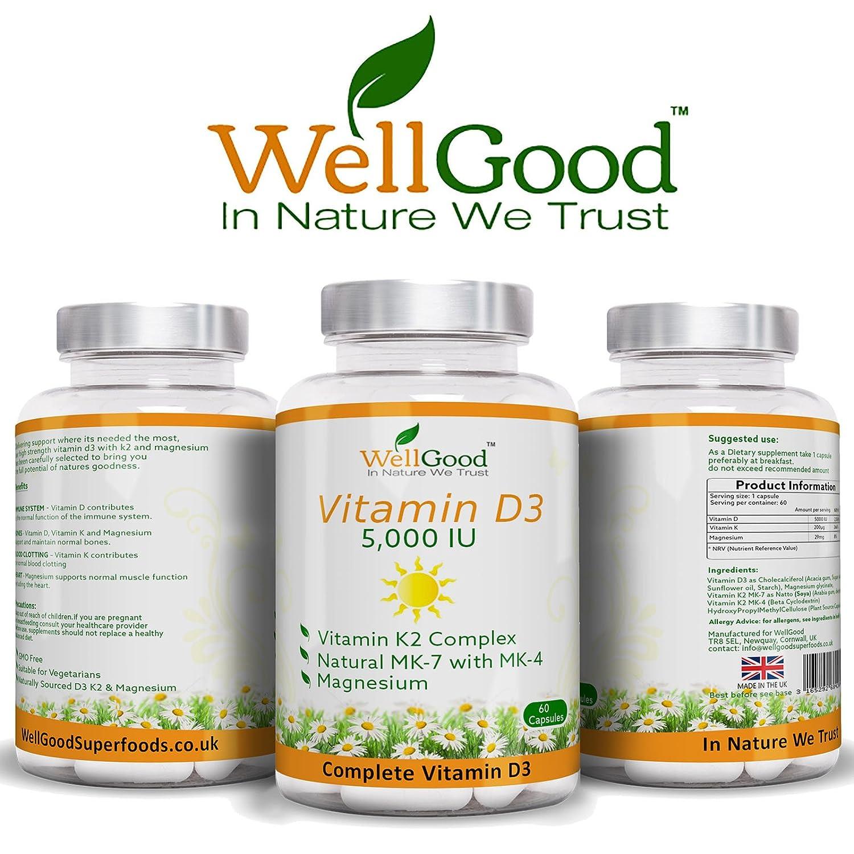 Vitamina D 5,000IU con Vitamina K Plus Magnesio - SUMINISTRO DE 2 MESES Cápsulas vegetarianas - Huesos, dientes, apoyo del sistema inmunológico - 2 meses de ...