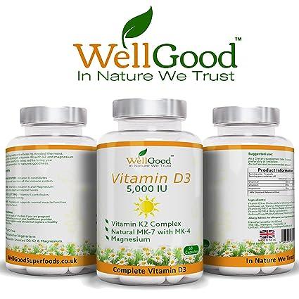 Vitamina D 5,000IU con Vitamina K Plus Magnesio - SUMINISTRO DE 2 MESES Cápsulas vegetarianas