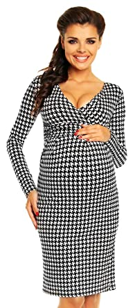 Long sleeve white maternity dress