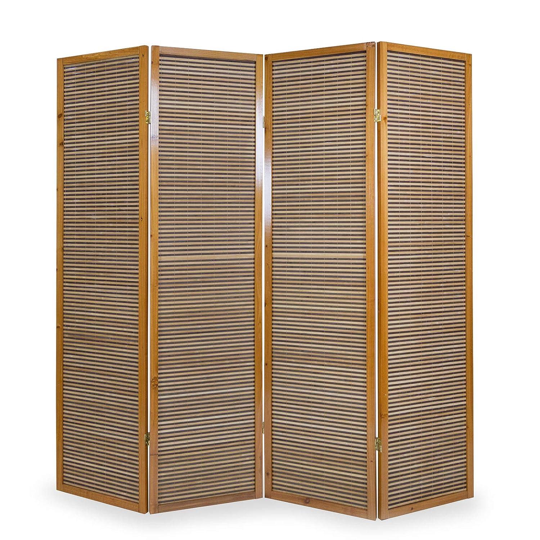 Homestyle4u 382, Paravent Raumteiler 4 teilig, Bambus Holz, 176 x 175 x 2 cm, Braun