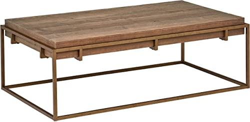 Stone Beam Sparrow Modern Industrial Coffee Table, 55.1 W, Wood and Bronze