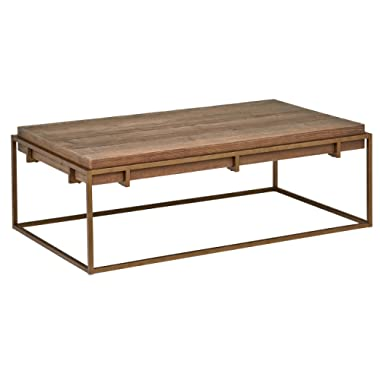 Stone & Beam Sparrow Modern Industrial Coffee Table, 55.1 W, Wood and Bronze