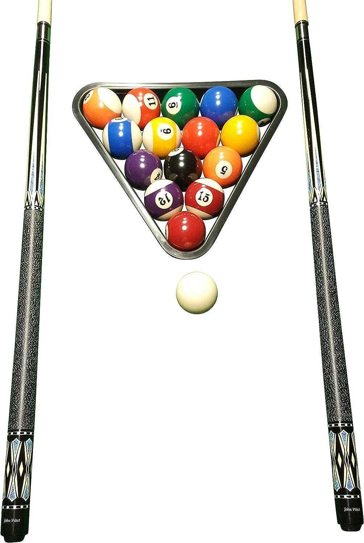 John West Juego de billar profesional – Bolas + Triángulo + 2 ...