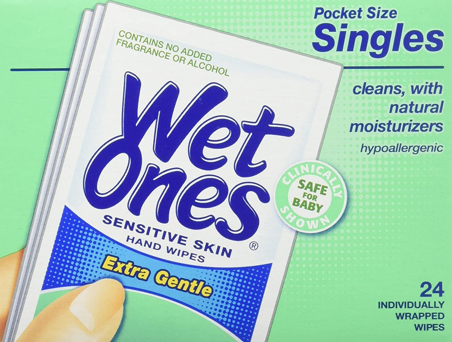 WET ONES Sensitive Skin Hand Wipes, Singles Extra Gentle Fragrance & Alcohol Free 24 ea 076828047213