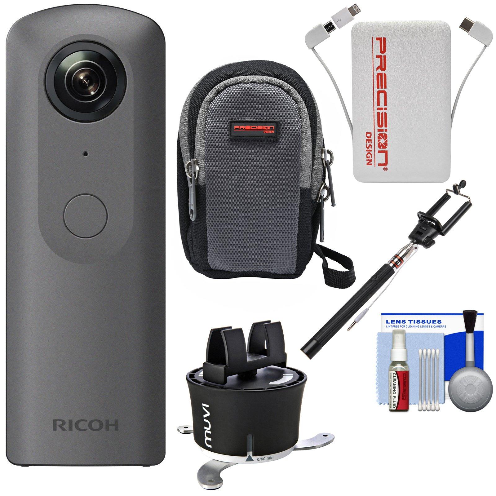 Ricoh Theta V 360-Degree Spherical 4K HD Digital Camera with Time Lapse Device + Selfie Stick + Power Bank + Case + Kit