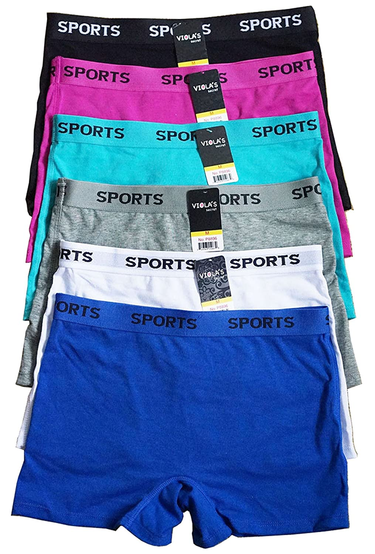 6 pieces Spandex Women Underwear Box Cotton Boyshorts Sports Panty S M L XL (8896/8898)