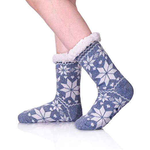 3ce2445126013 Womens Winter Fleece Lining Knit Christmas Non Slip Knee Highs Stockings  Warm Fuzzy Cozy Slipper Socks (Blue) at Amazon Women's Clothing store: